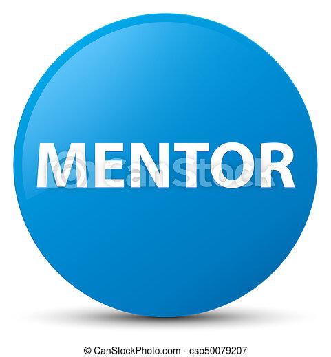 Mentor cyan blue round button - csp50079207