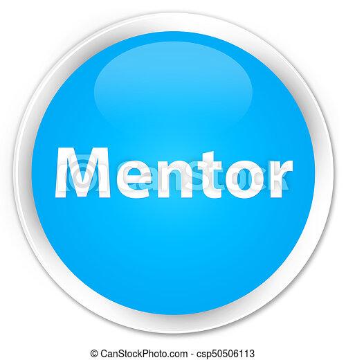 Mentor premium cyan blue round button - csp50506113