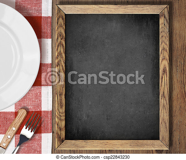 Menu blackboard top view on table with plate, knife and fork - csp22843230