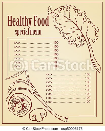 menu card with healthy vegetarian food vector decorations