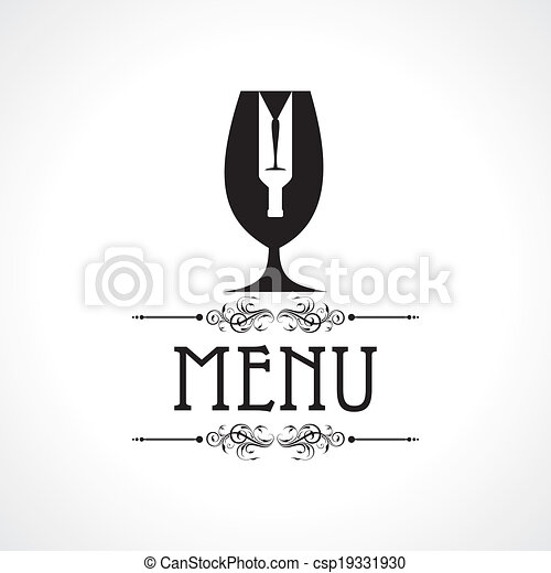 menu card with wine glass & bottle - csp19331930