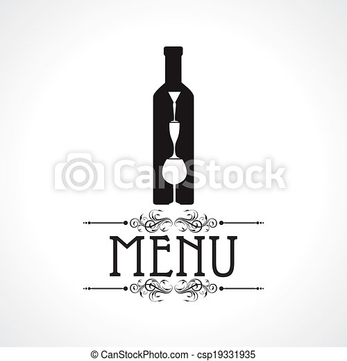 menu card with wine glass & bottle - csp19331935