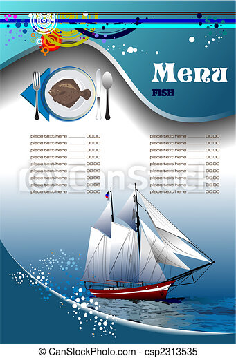 menu, fish, (cafe), restaurant - csp2313535