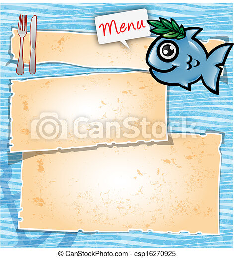 menu, fish, dessin animé - csp16270925