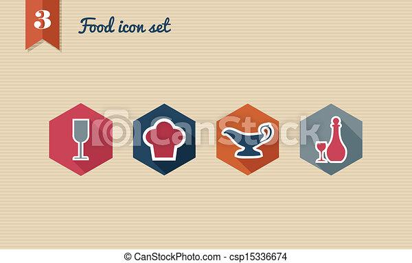 Menu food flat icon set. - csp15336674