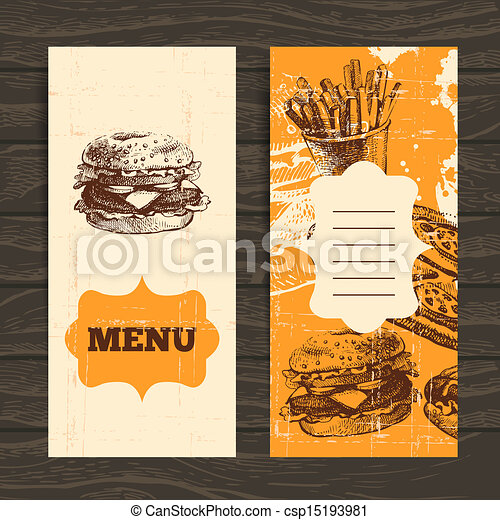 Menu for restaurant, cafe, bar, coffeehouse. Vintage  background with hand drawn illustration - csp15193981