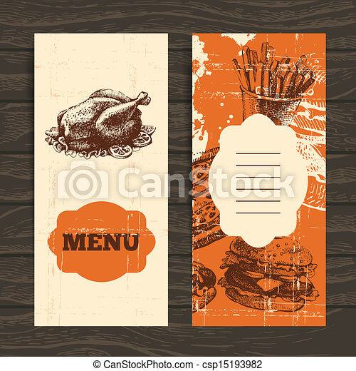 Menu for restaurant, cafe, bar, coffeehouse. Vintage  background with hand drawn illustration  - csp15193982