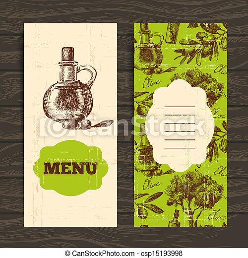 Menu for restaurant, cafe, bar. Olive vintage background. Hand drawn illustration - csp15193998