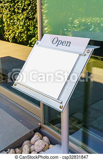 Menu frame in front of Restaurant - csp32831847