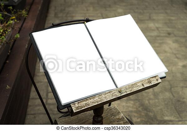 Menu frame in front of Restaurant - csp36343020