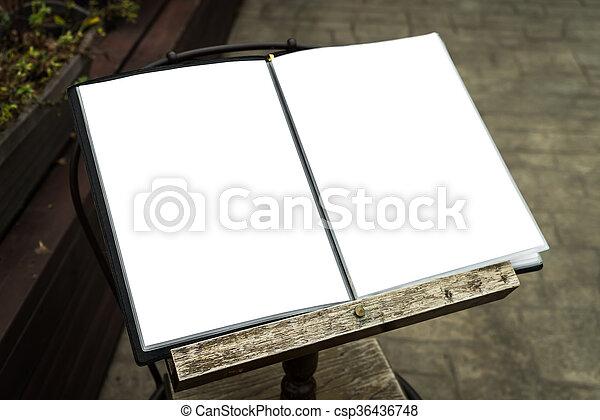 Menu frame in front of Restaurant - csp36436748