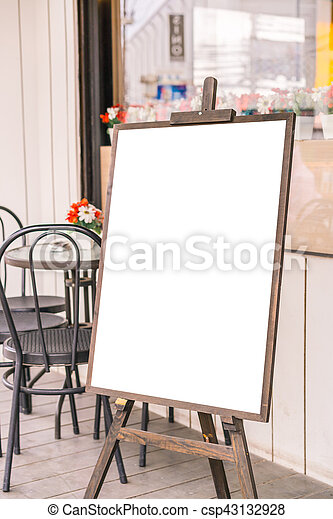 Menu frame in front of Restaurant . - csp43132928