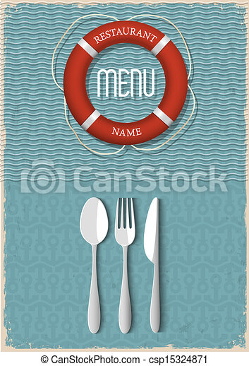 menu, fruits mer, conception, retro, restaurant - csp15324871