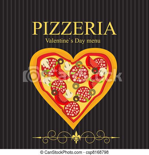 menu, illustrazione, giorno, vettore, fidanzato, sagoma, pizza - csp8168798