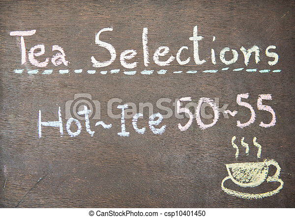 Menu in front of coffee, chalk on black board - csp10401450