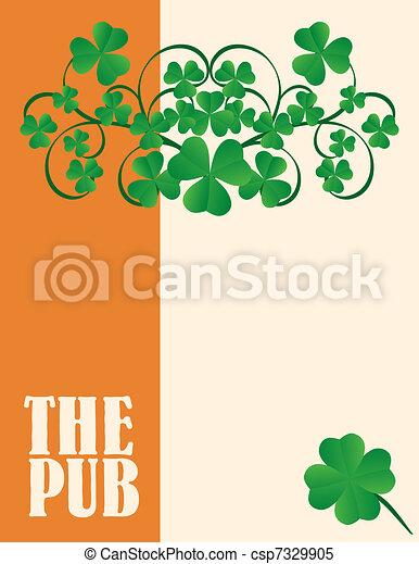 menu, irlandese, coperchio, pub, disegno - csp7329905