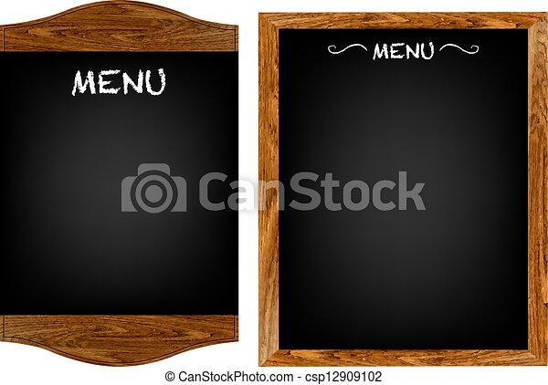 menu, jogo, texto, tábua, restaurante - csp12909102