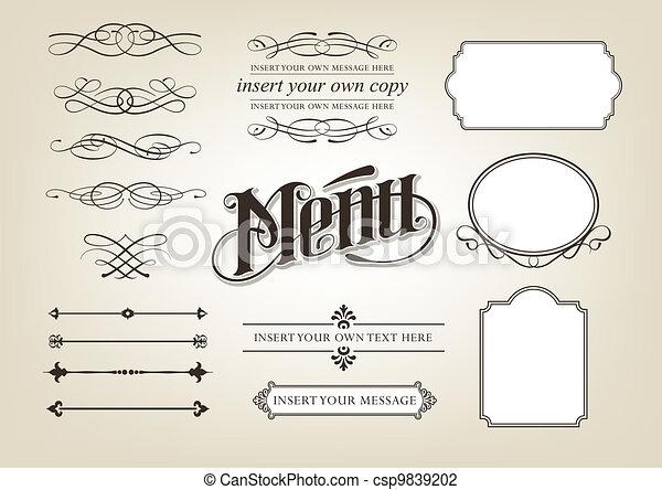 menu, kaligrafia, komplet - csp9839202