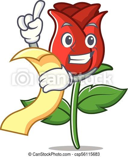Menu Mascotte Dessin Animé Rose Rouge
