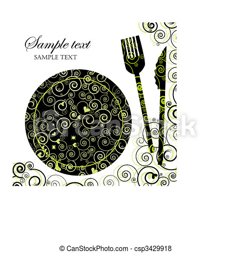 Menu or Invitation for Dinner, Parties and Showers - csp3429918