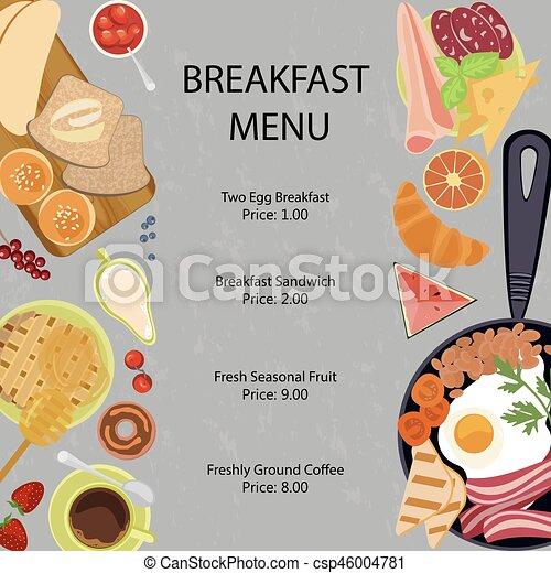 Connu Vecteur de menu, petit déjeuner, conception, plat - plat, pierre  EM42