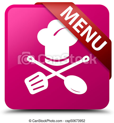 Menu (restaurant icon) pink square button red ribbon in corner - csp50673952