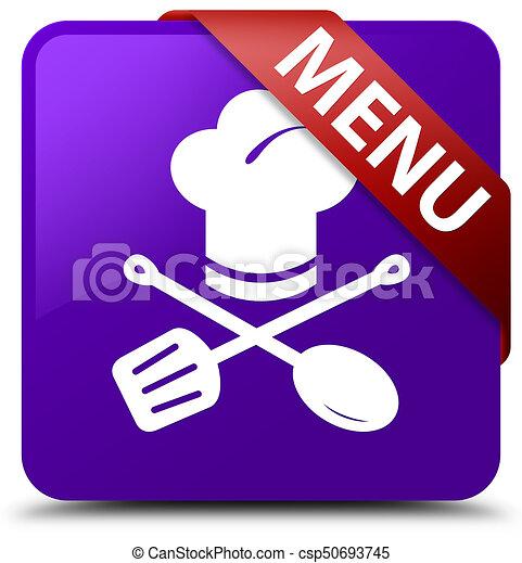 Menu (restaurant icon) purple square button red ribbon in corner - csp50693745