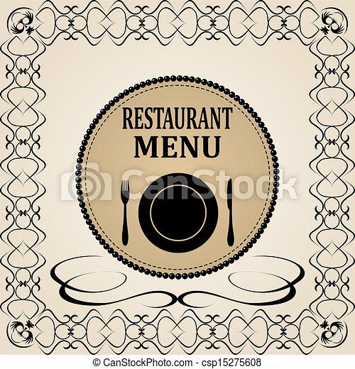 menu, ristorante, disegno - csp15275608