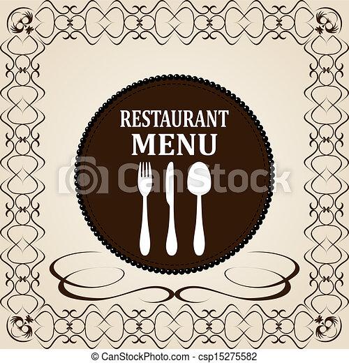 menu, ristorante, disegno - csp15275582