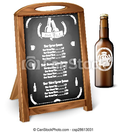 Menu template on chalkboard - for alcohol with realistic brown beer ...