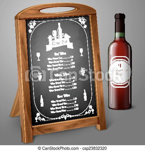 Menu template on chalkboard - for alcohol with realistic red wine ...