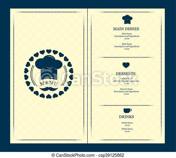 menu, vettore, coperchio, sagoma - csp39125862
