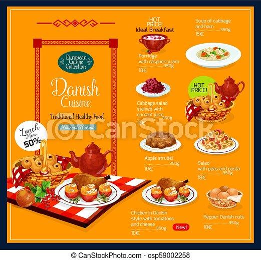 Menu Wektor Duńska Kuchnia