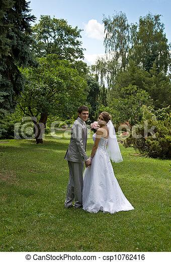 menyasszony, gyalogló, lovász, liget - csp10762416