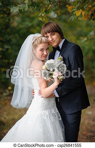 menyasszony, lovász, liget, boldog, esküvő - csp26841555