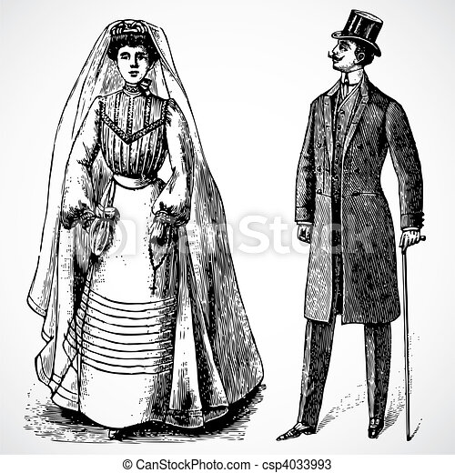 menyasszony, szüret, vektor, lovász - csp4033993