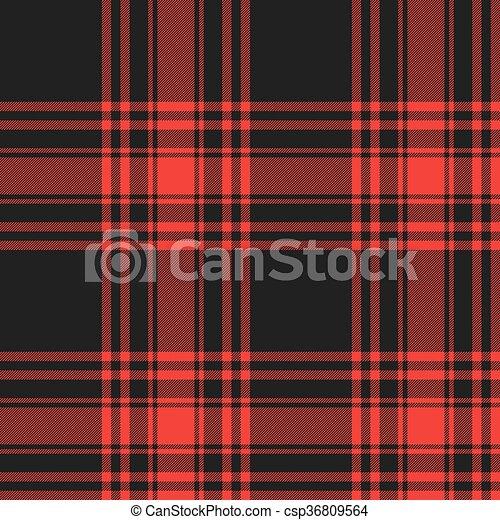Menzies Tartan Black Red Kilt Skirt Fabric Texture Seamless Pattern