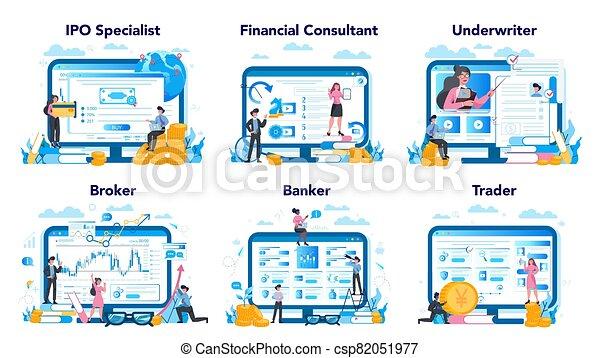 mercado, idea, tela, profesión, finanzas, platform., sitio, set., acción - csp82051977