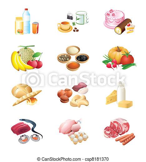 mercato cibo, icone - csp8181370