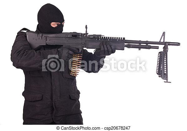 mercenary with m60 machine gun