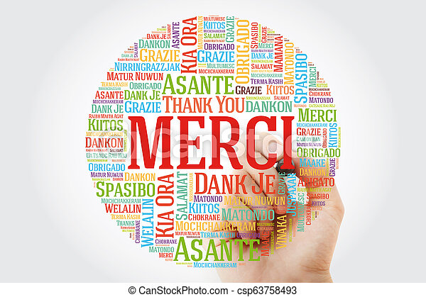 Merci Thank You In French Word Cloud