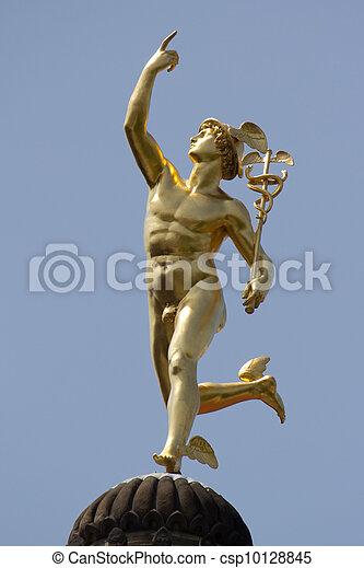 Mercurio Estatua Mercurio Dios Romano Dorado Estatua
