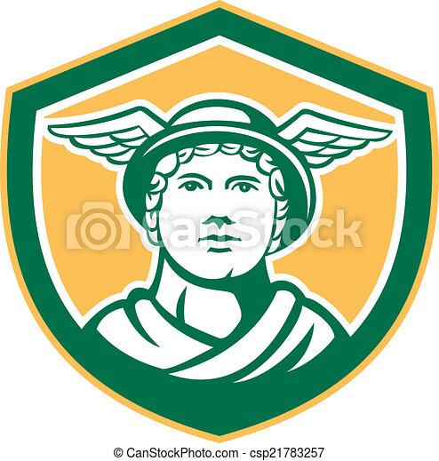 Mercury Head Winged Hat Retro Shield - csp21783257