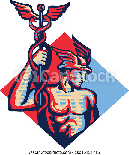 Mercury Holding Caduceus Staff Retro - csp15131715