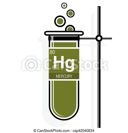 Mercury symbol on label in a green test tube with holder mercury symbol on label in a green test tube with holder element number 80 of the periodic table of vector urtaz Gallery