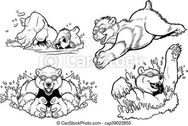 mergulhar, mascotes, urso, natação - csp39023855