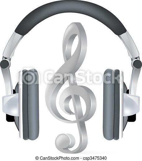 merkzettel, realistisch, kopfhörer, musik - csp3475340