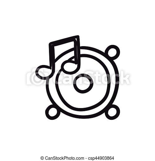 Merkzettel, skizze, musik, icon., lautsprecher. Website,... Clipart ...