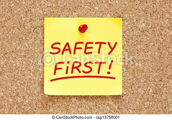 merkzettel, zuerst, sicherheit, klebrig - csp13758001