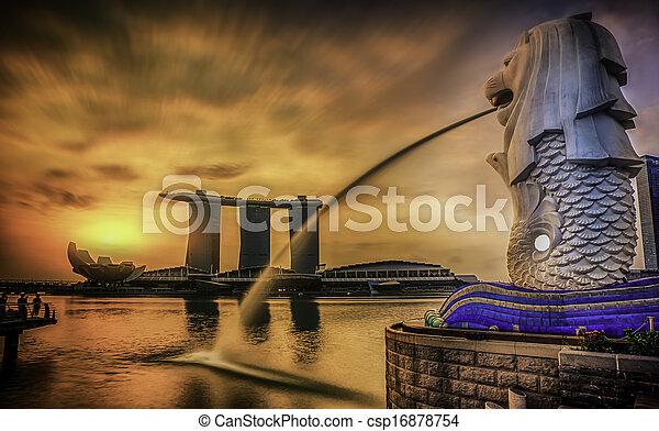 merlion, シンガポール, ランドマーク - csp16878754